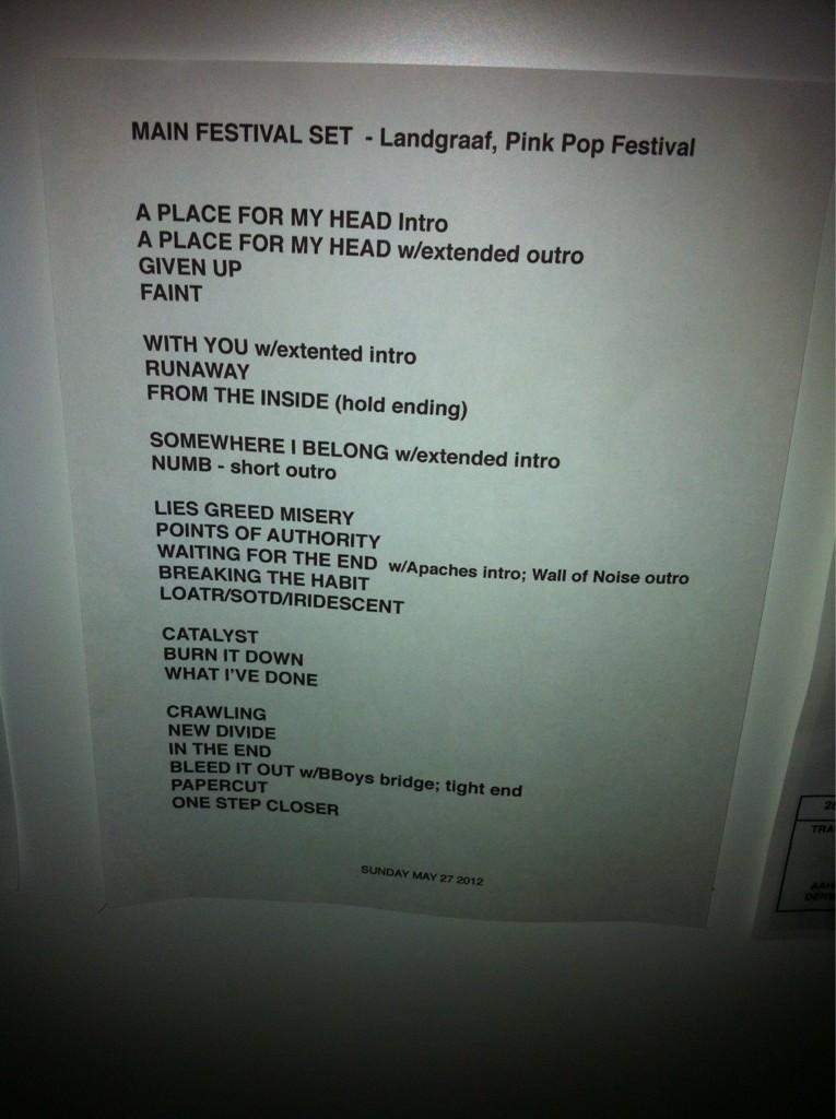 Pinkpop Setlist